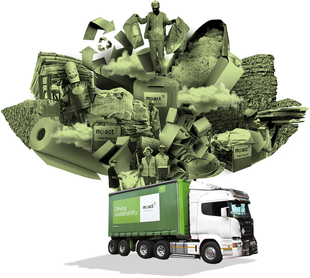 Recycling truck and collage [photo collage]